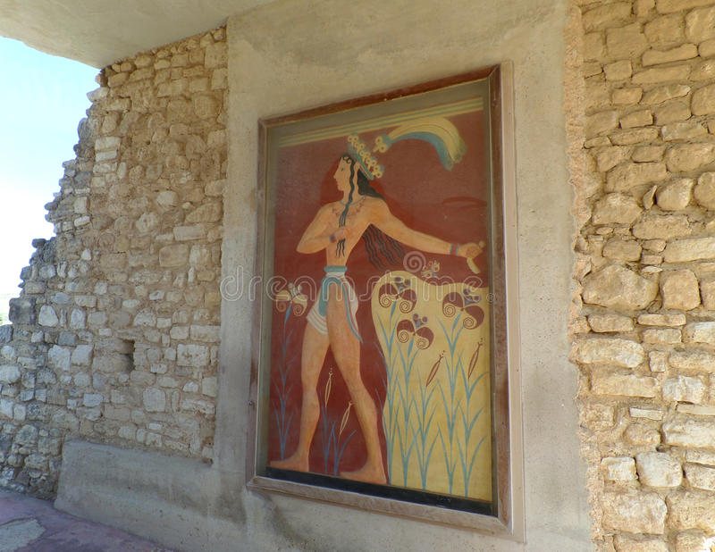 Prince of Lilies, Minoan Fresco at the Ancient Knossos, Heraklion, Greece stock photo