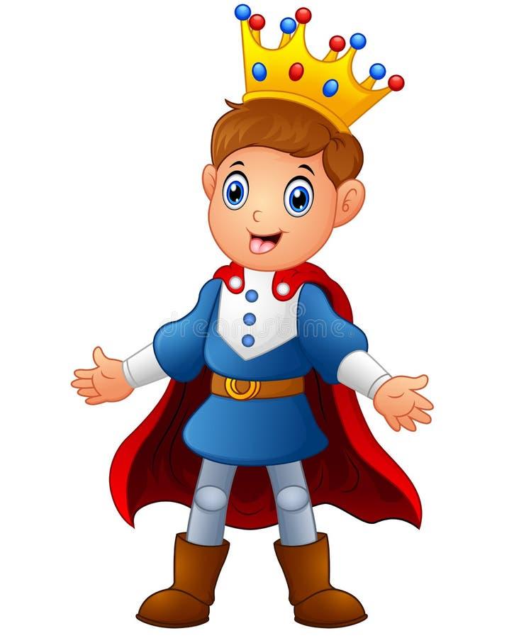 Prince mignon de garçon avec le manteau rouge illustration de vecteur