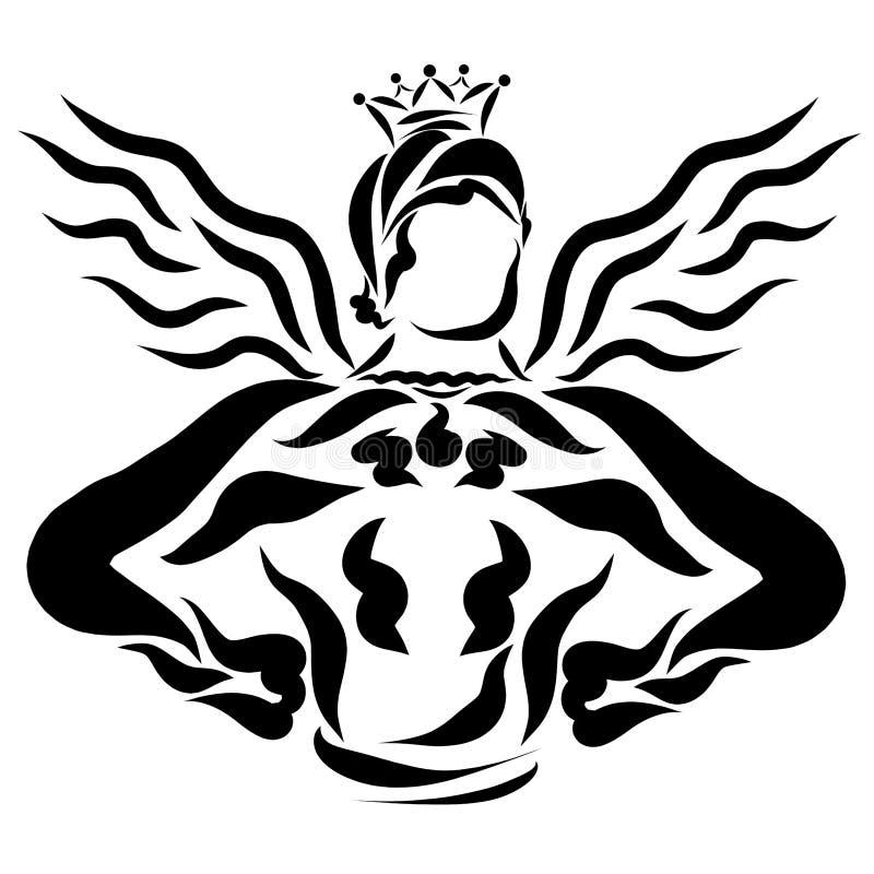 Prince musculaire avec des ailes, la puissance et la force illustration libre de droits