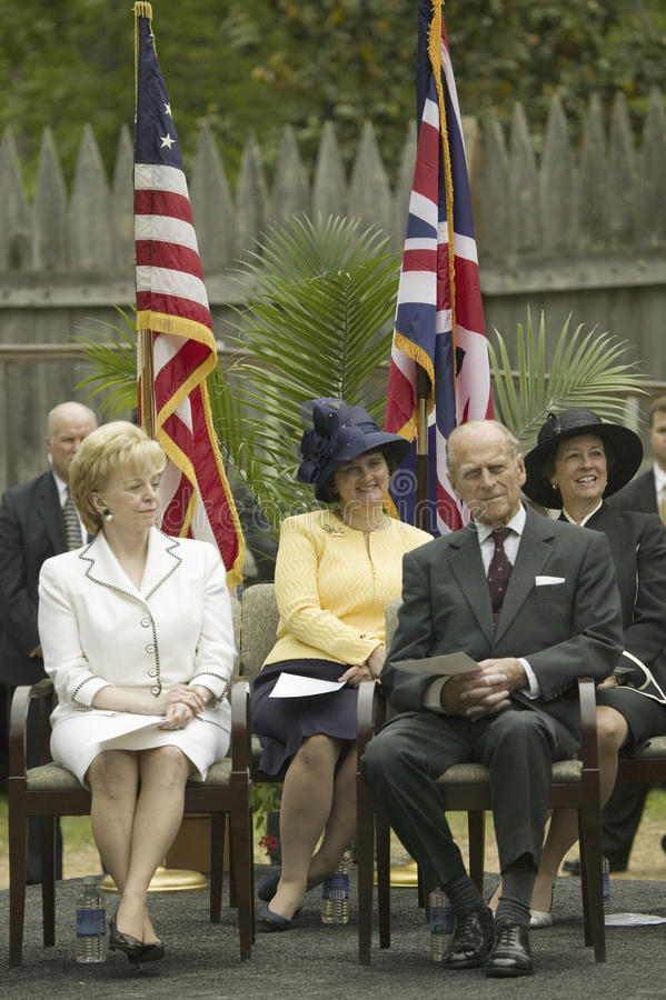 Prince Philip. Left to right, Lynn Cheney, Ann Holton and Prince Philip, the Duke of Edinburgh, observing ceremony at James Fort, Jamestown Settlement, Virginia stock photo