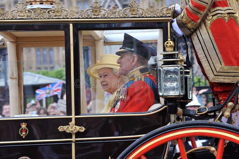 Prince Phillip, HM drottning Elizabeth arkivbilder