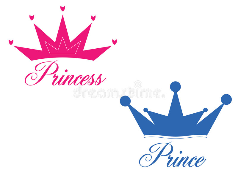 Prince and princess. Crowns with some nice writings. Eps8, vector, easy resizing or change colors