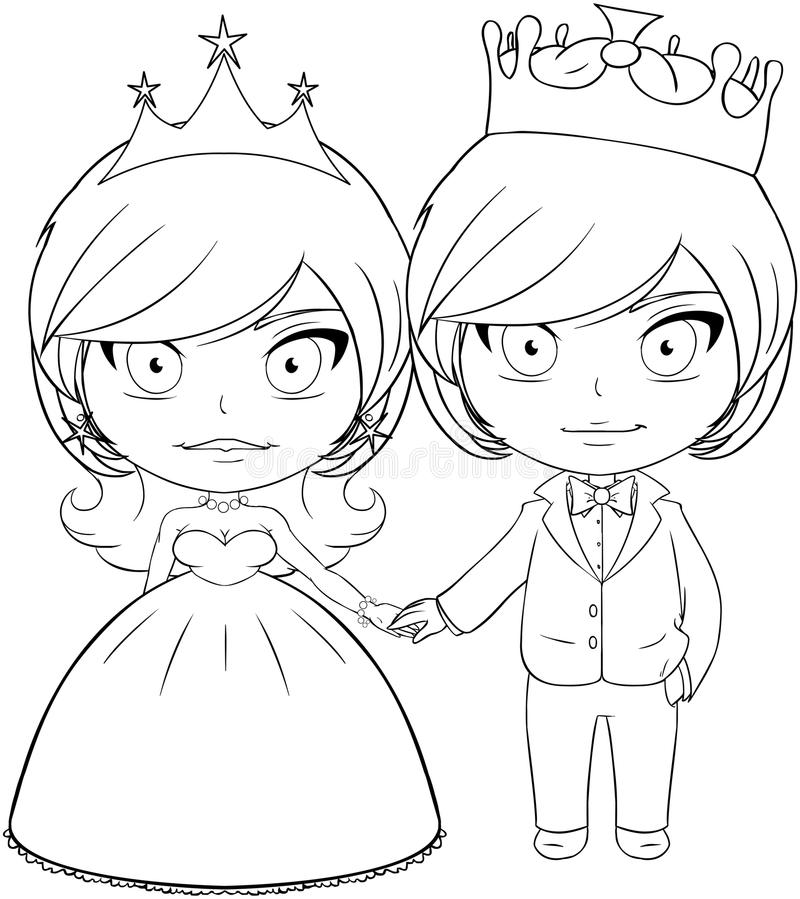 Download Prince And Princess Coloring Page 3 Stock Vector