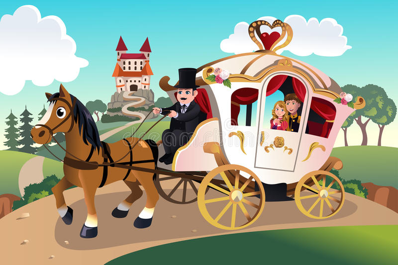Prince and princess in horse wagon vector illustration