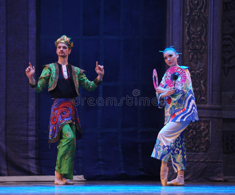 The prince and Princess of Japan- The second act second field candy Kingdom -The Ballet Nutcracker. Ukraine Kiev theatre ballet dancers perform the Nutcracker in stock photography