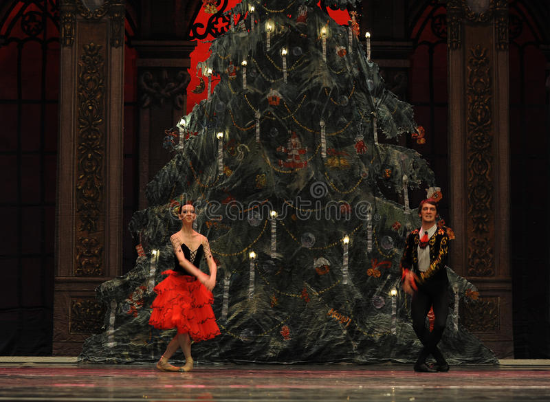 The prince and Princess of Spain- The second act second field candy Kingdom -The Ballet Nutcracker. Ukraine Kiev theatre ballet dancers perform the Nutcracker in royalty free stock photos