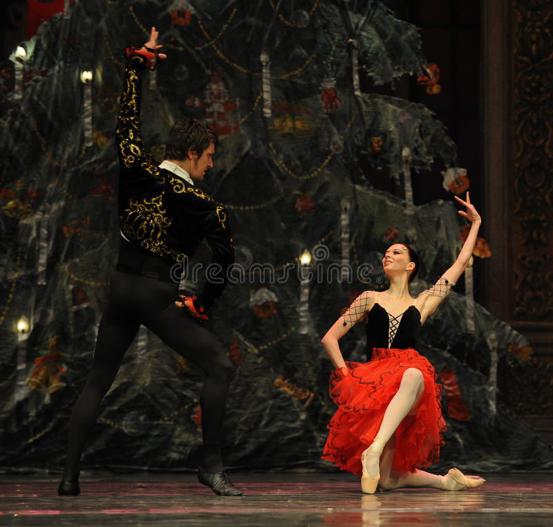 The prince and Princess of Spain- The second act second field candy Kingdom -The Ballet Nutcracker. Ukraine Kiev theatre ballet dancers perform the Nutcracker in royalty free stock image