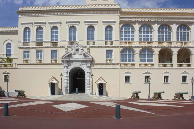 Prince`s Palace of Monaco, architecture. MONTE CARLO, MONACO - APRIL 25 2017: Prince`s Palace of Monaco, architecture stock images
