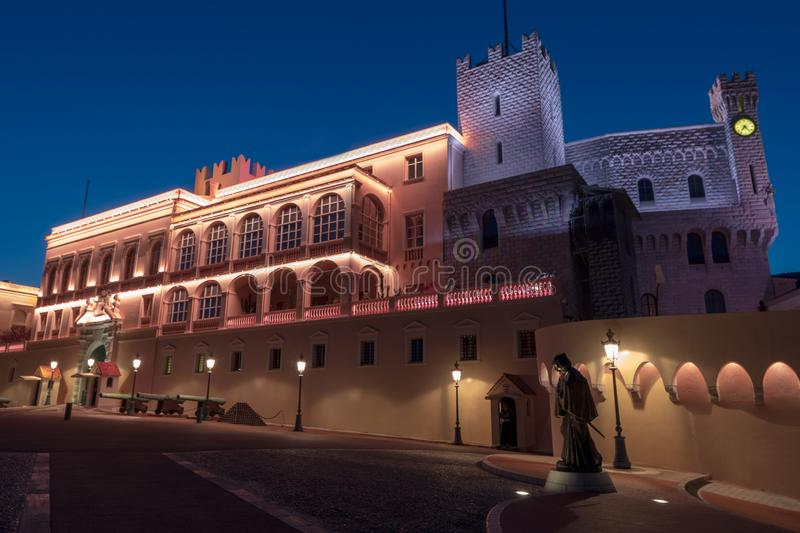 Prince`s Palace of Monaco. Evening view of the Prince`s Palace - is the official residence of the Prince of Monaco royalty free stock photography