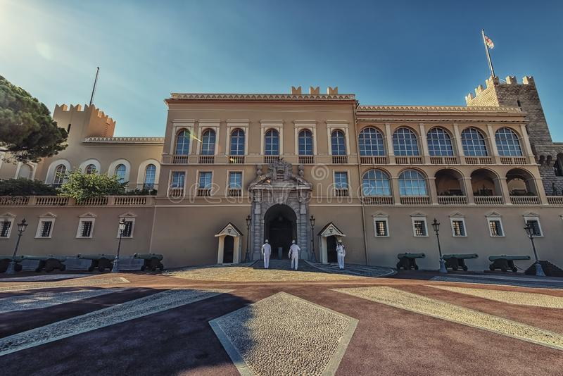 Monaco city in daytime. Prince`s Palace of Monaco on the French Riviera royalty free stock image