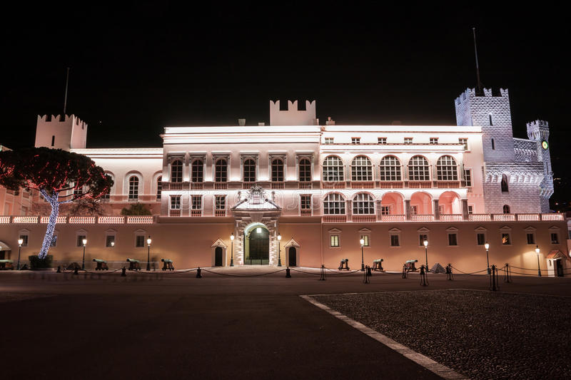 Prince's Palace of Monaco at night. It is the official residence of the Prince of Monaco stock photography
