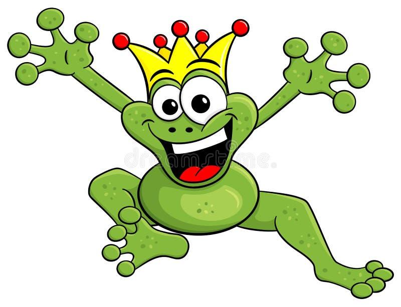 Prince sautant de grenouille de bande dessinée d'isolement sur le blanc illustration libre de droits