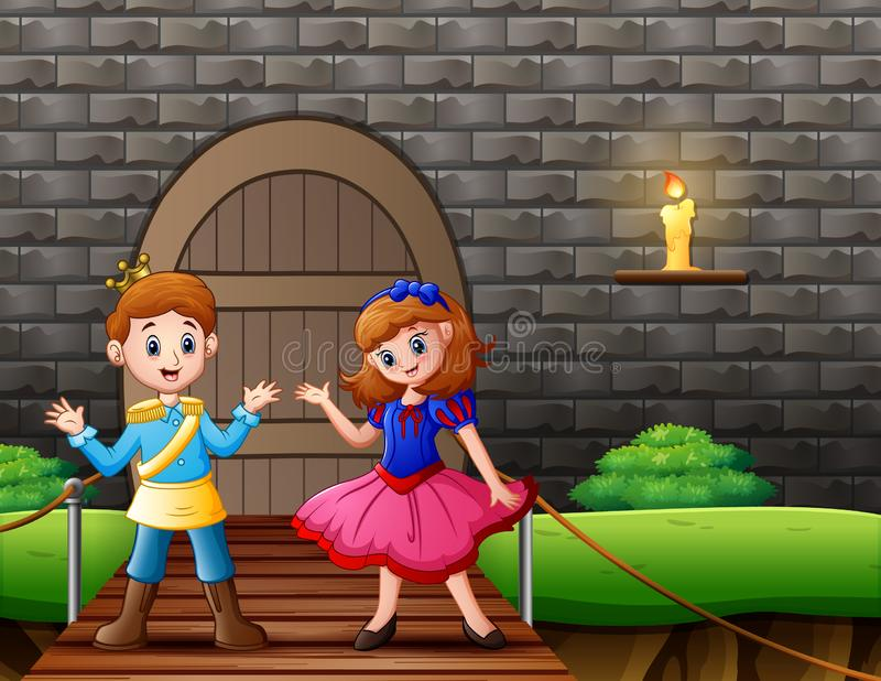 A prince and snow white in front the house. Illustration royalty free illustration
