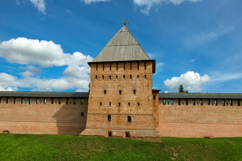 Prince Tower of the fortress in Veliky Novgorod. Prince Tower. Walls and towers of the Novgorod Kremlin, Russia stock photo