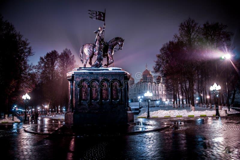 Prince Vladimir. Evening Dark Dormition Cathedral Monument of Russia Ancient Russia Vladimir-Suzdalm White-stone stock photo