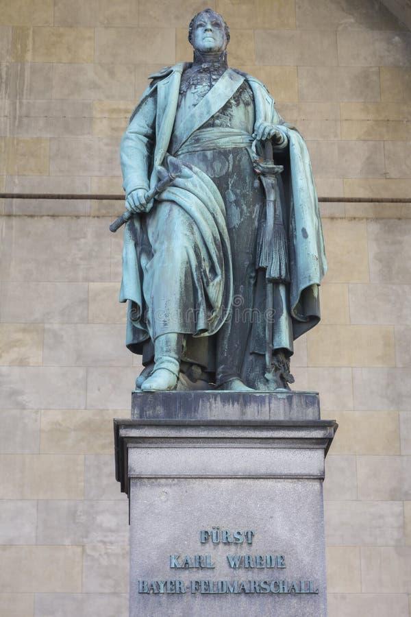 Prince von Wrede, Skulptur am Odeon-Platz, München stockbild