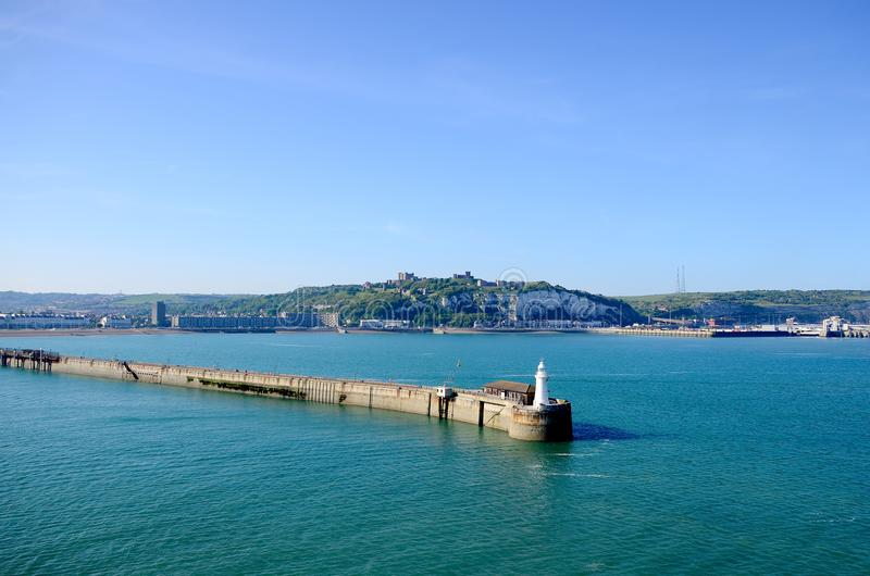 Prince of Wales Pier and the White Cliffs of Dover. stock images
