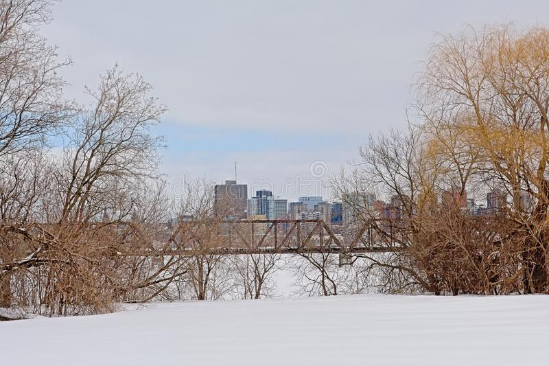 Prince of Wales rail bridge over frozen Ottawa river with office towers of Hull behind, framed by bare trees. Prince of Wales rail bridge over frozen Ottawa royalty free stock photography
