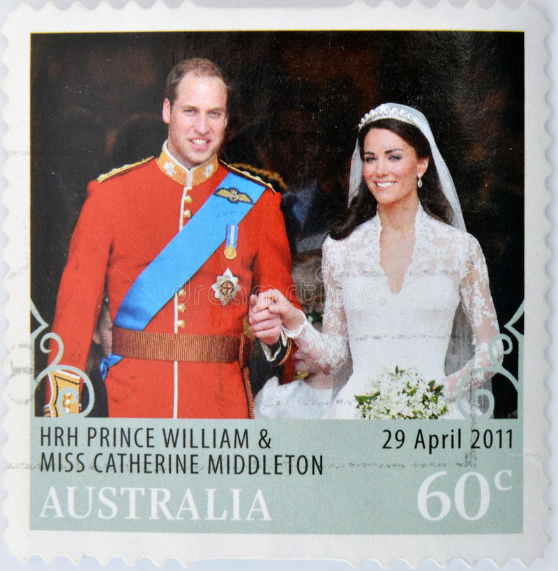 Prince Williams and Kate Middleton royal wedding. A stamp printed in Australia shows an image of Prince Williams and Kate Middleton royal wedding royalty free stock photography