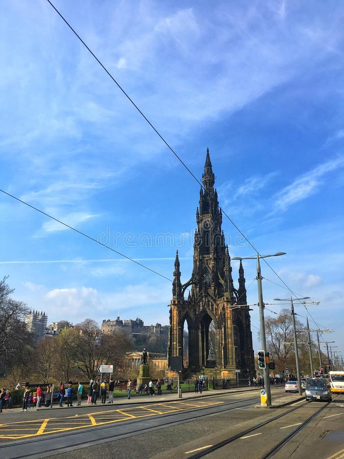 Scott monument and Princes street. The Scott Monument is a Victorian Gothic monument to Scottish author Sir Walter Scott. It is the second largest monument to a stock photography
