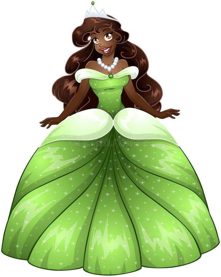 Princesa africana In Green Dress ilustração royalty free