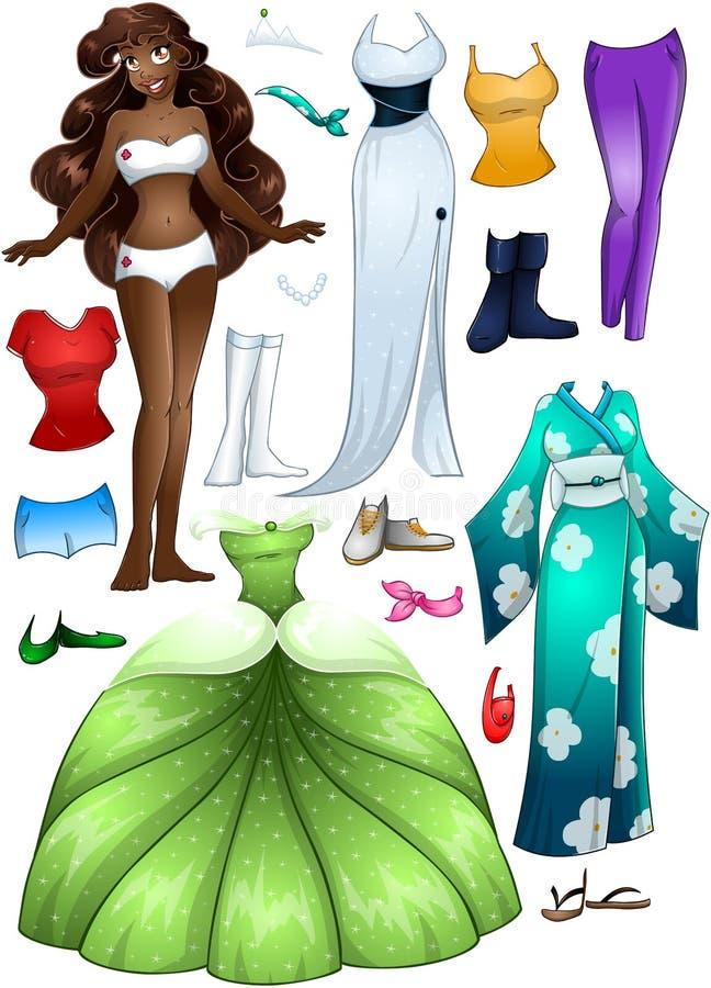 Princesa afro-americano Dress Up da menina ilustração do vetor