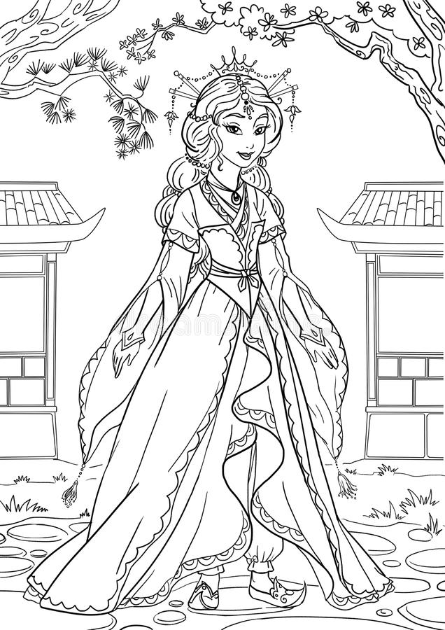 Princesa asiática stock de ilustración