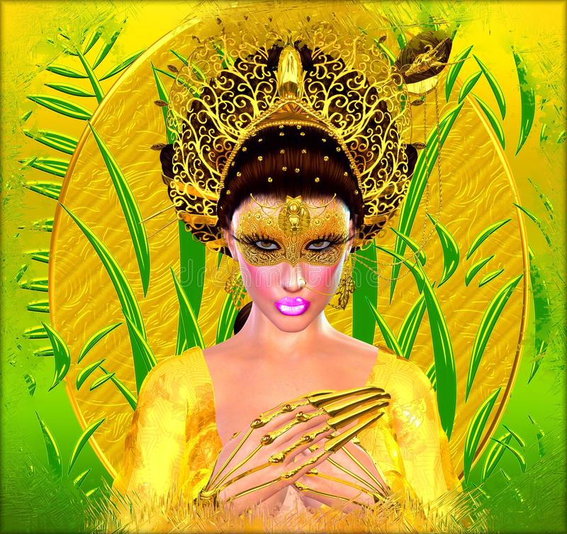 Princesa asiática con la corona del oro contra un oro y un fondo verde Belleza, moda y cosméticos digitales modernos del arte ilustración del vector