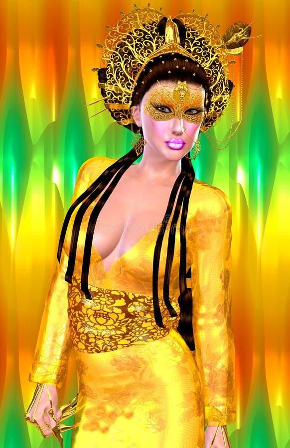 Princesa asiática con la corona del oro contra un oro y un fondo verde Belleza, moda y cosméticos digitales modernos del arte stock de ilustración