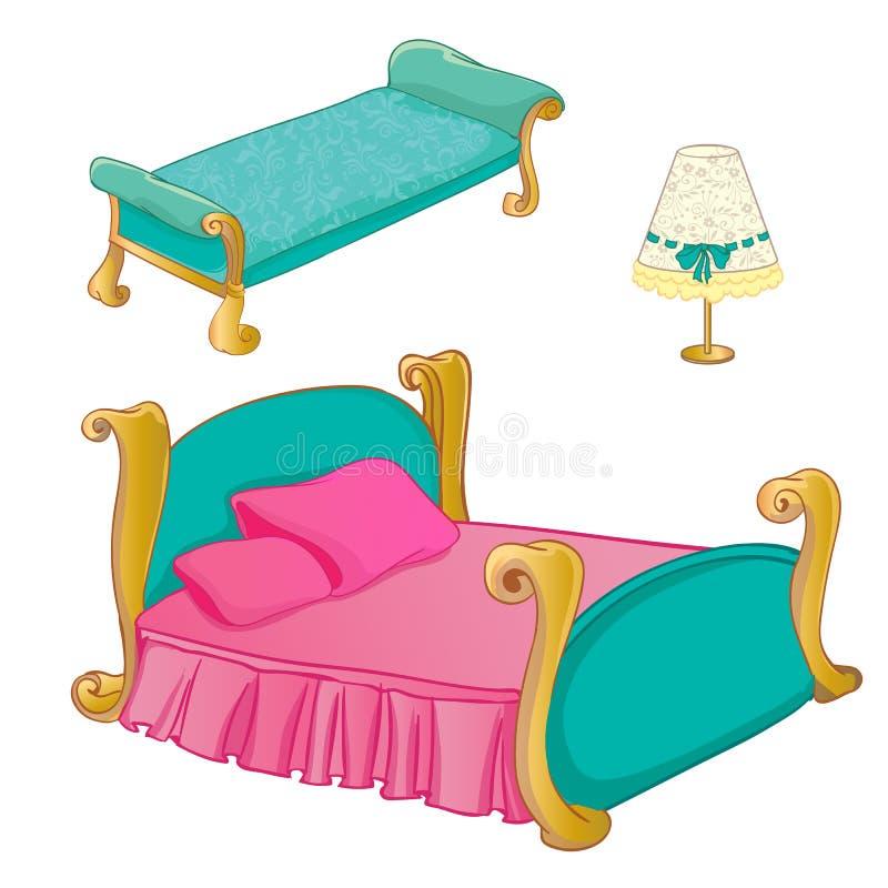 Princesa Bedroom Furniture Set stock de ilustración