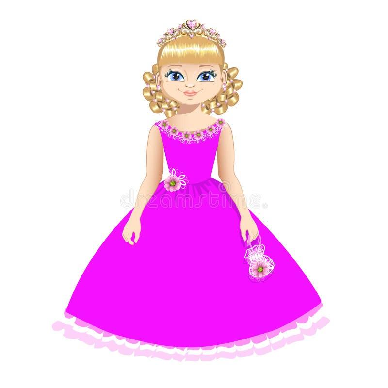 Princesa bonita com diadema ilustração stock