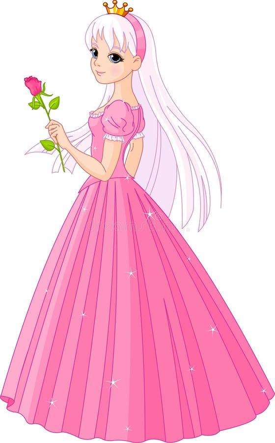A princesa bonita com levantou-se ilustração do vetor
