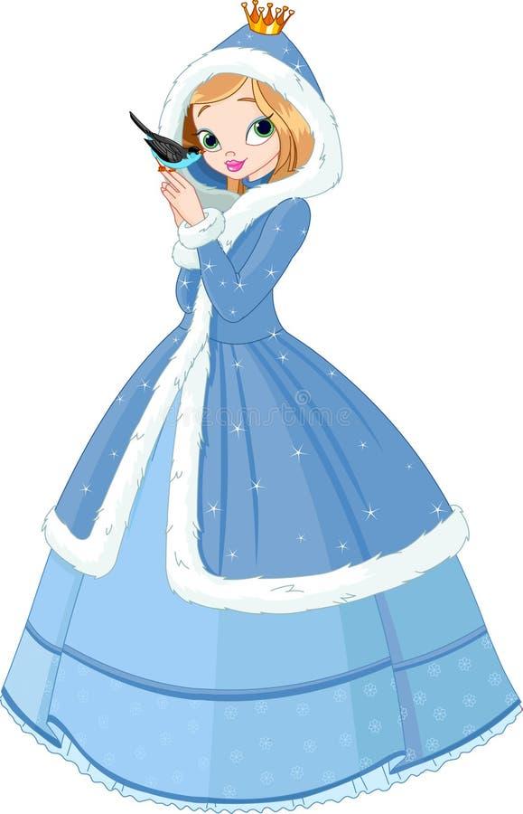 Princesa bonita do inverno com pássaro ilustração do vetor