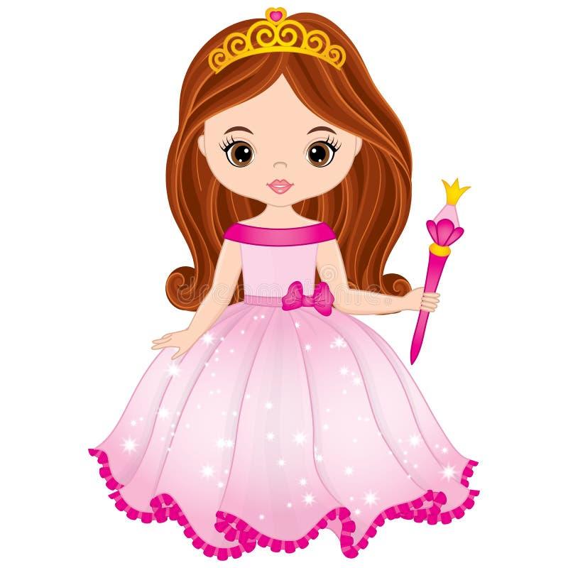 Princesa bonita do vetor com a varinha mágica no vestido cor-de-rosa ilustração royalty free