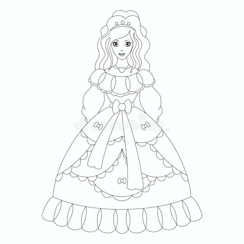 Princesa bonita, página do livro para colorir ilustração stock