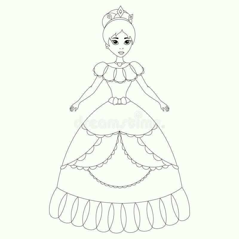 Princesa bonita, página do livro para colorir ilustração do vetor