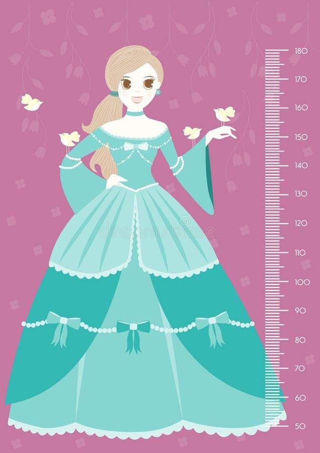 Princesa bonita que mantém o pássaro com parede do medidor ou medidor da altura de 50 a 180 centímetros, ilustrações do vetor ilustração stock