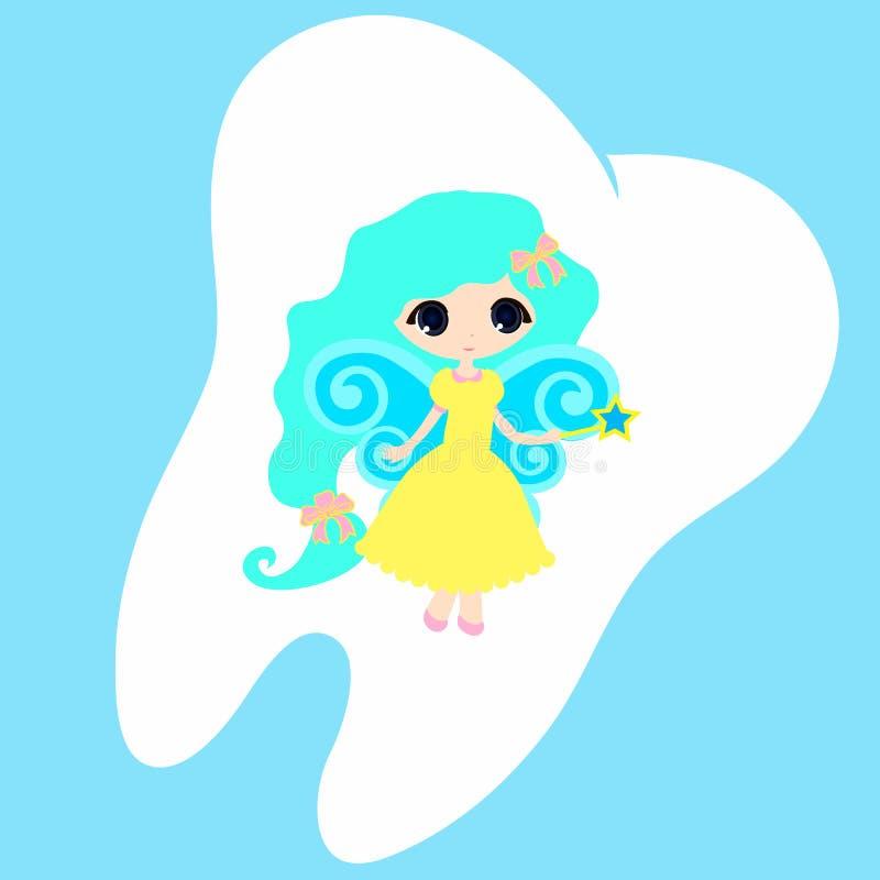 Princesa bonito Card pouco vetor feliz dos dentes da fada de dente ilustração do vetor
