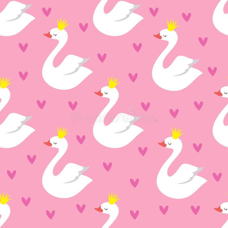 Princesa bonito da cisne com teste padrão sem emenda do vetor da coroa no fundo cor-de-rosa ilustração do vetor
