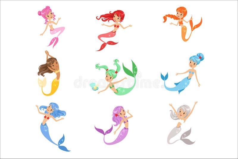 Princesa bonito da sereia do conto de fadas com grupo colorido do cabelo e do taill de ilustrações do vetor ilustração royalty free