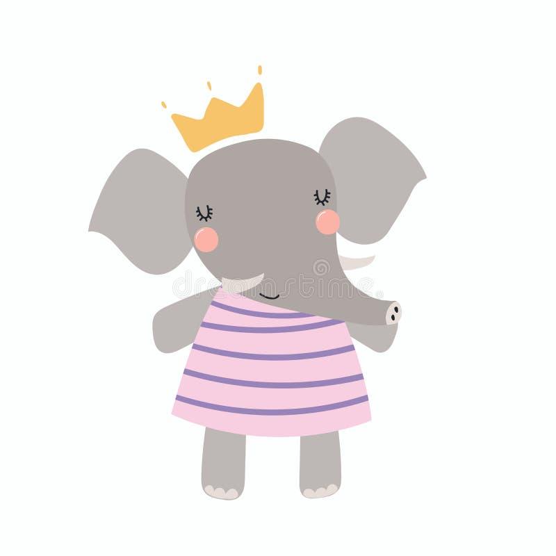 Princesa bonito do elefante ilustração do vetor