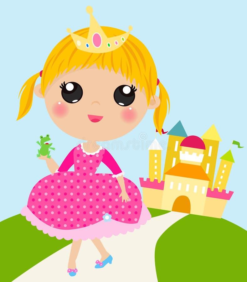 Princesa bonito e rã ilustração stock