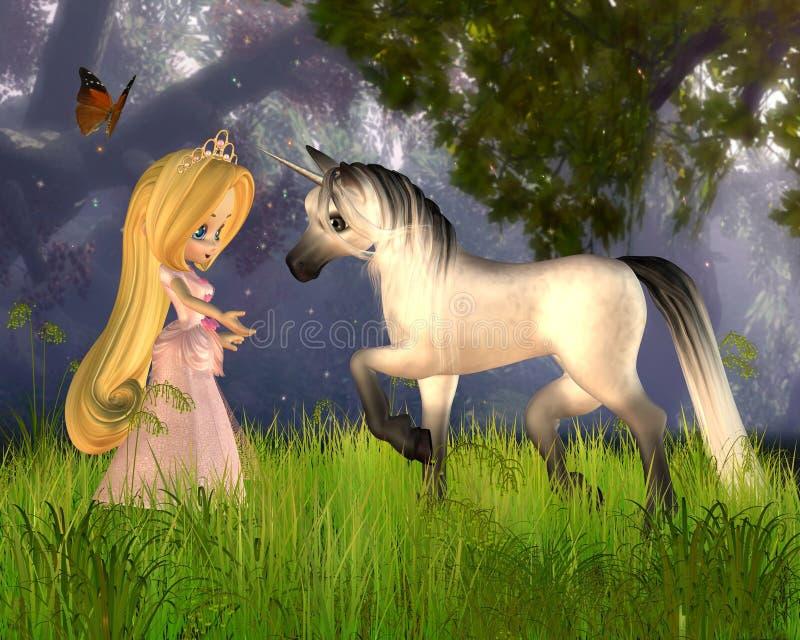 Princesa bonito e unicórnio do conto de fadas de Toon ilustração do vetor