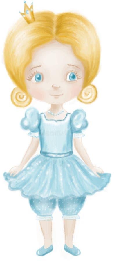 A princesa bonito pequena no vestido lightblue e a calças com colden a coroa foto de stock royalty free