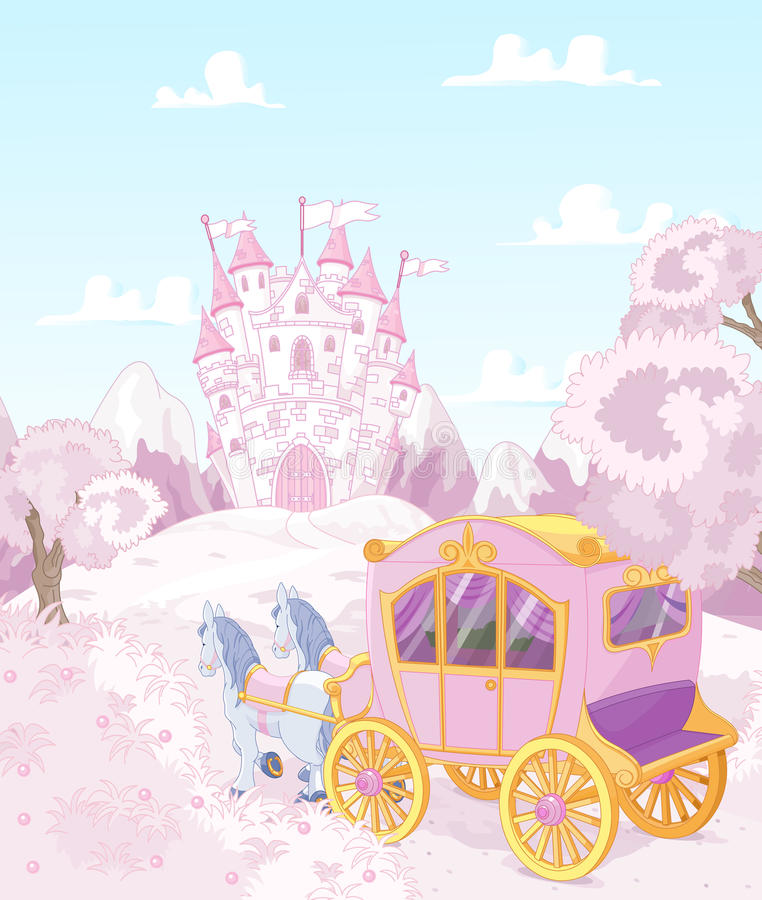 Princesa Carriage Back al reino stock de ilustración