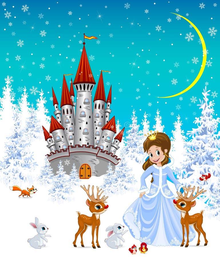 Princesa, castillo, animales, paisaje del invierno ilustración del vector