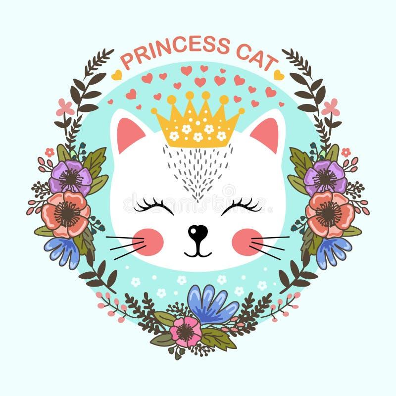 Princesa Cat Lindo, gato de la historieta En el marco de flores ilustración del vector