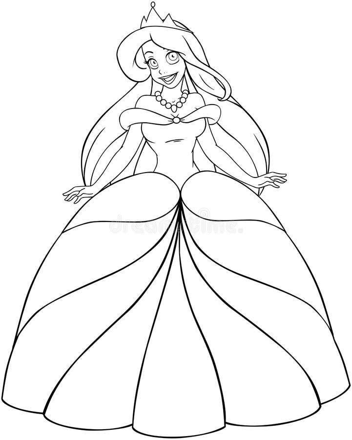 Princesa caucasiano Coloring Page ilustração royalty free