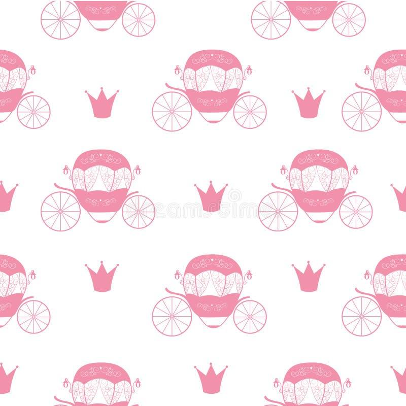 Princesa Cinderella Fairytale Carriage Teste padrão sem emenda Backgro ilustração stock