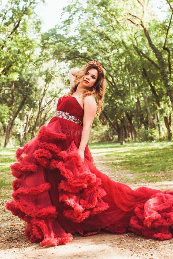 Princesa com a coroa no vestido vermelho nebuloso fotografia de stock